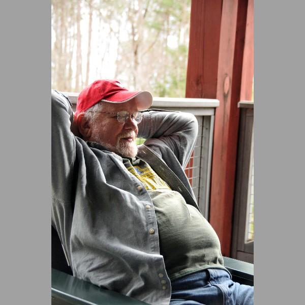 Jim Beschta Relaxes On The Porch