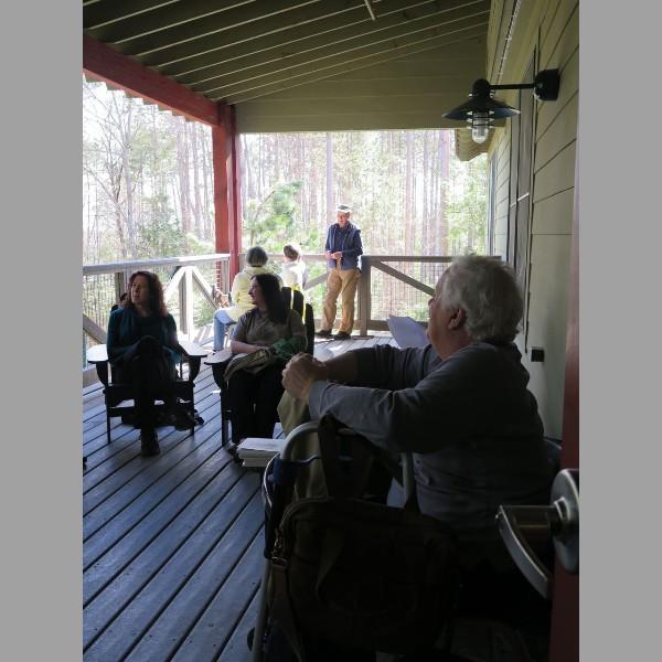 2015 Retreat: poets enjoying porch time
